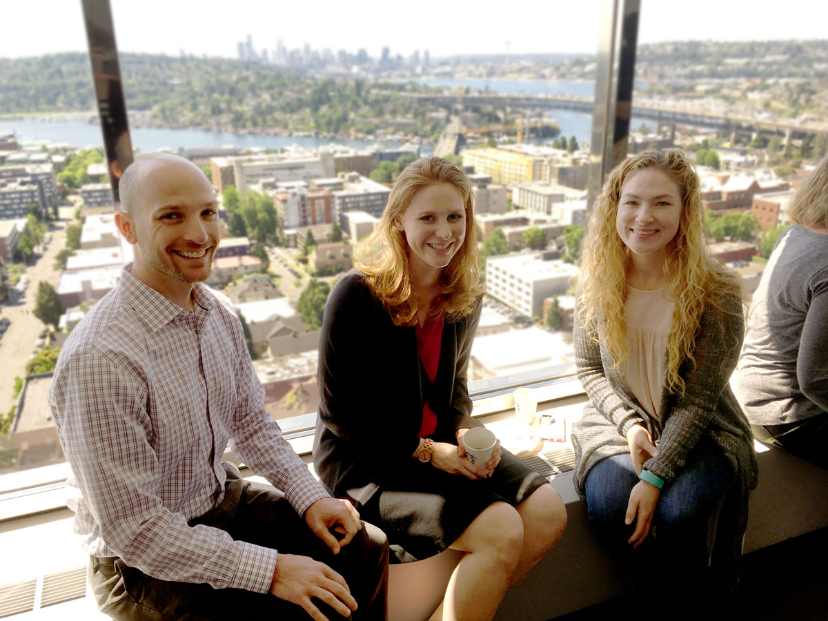 Three members of the HSD Project Team at the May 2016 kick-off celebration of Zipline: Josh Bisetti, Megan Tedell-Hlady, Heather Rieck